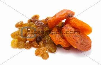 Heap of raisin and dry apricot on a white background
