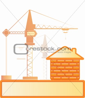brick house and construction crane