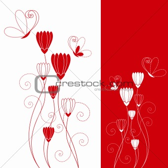 Abstract red flower with butterfly greeting card