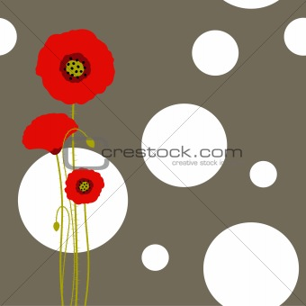 Abstract red poppy on floral seamless pattern background