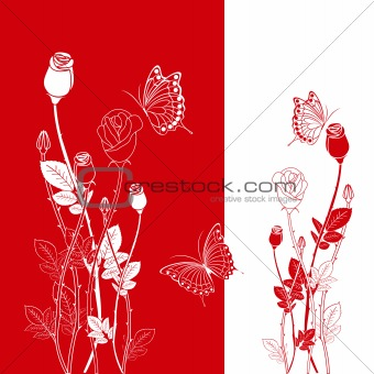 Abstract red rose with butterfly greeting card