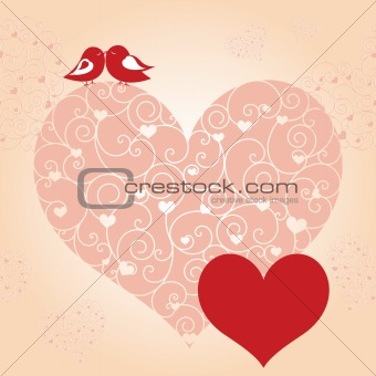 Abstract red valentine lovebird pink heart greeting card