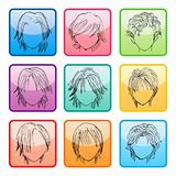 Hairstyle buttons set