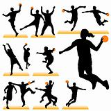 Handball silhouettes set