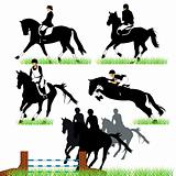 Horses and jockeys set 02