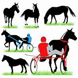 Jockeys and horses silhouettes