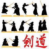 Kendo silhouettes set