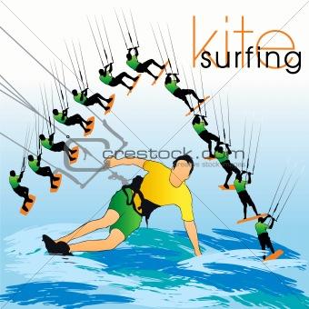 Kite surfing silhouettes set
