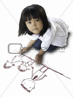 Children drawing family