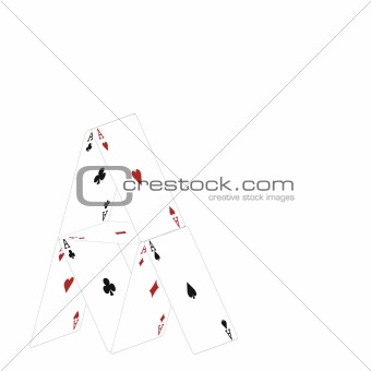 Small house from cards.Vector illustration