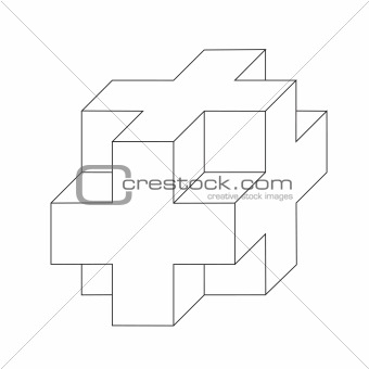 abstract cube.Vector illustration