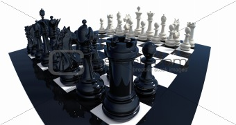 Dramatic view on chess set
