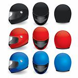 Vector set of motorcycle helmet