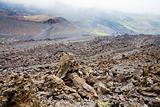 lava rocks close up on volcano slope of Etna