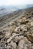 lava rocks close up on slope of Etna