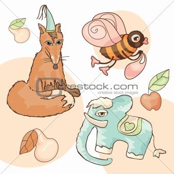 fox, elephant, bee, pear and apple