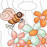 vector cute bee collects nectar