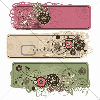 abstract cute horizontal floral banners