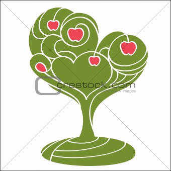 abstract tree with apples