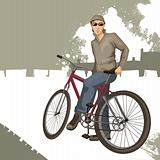 young man on a bicycle