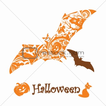 abstract cute halloween bat