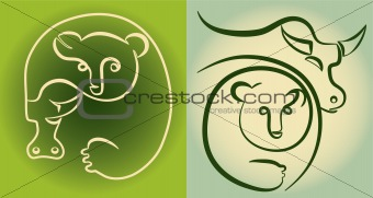 stock market: bull and bear