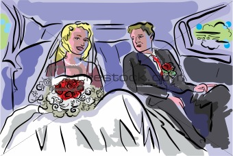 wedding pair inside car