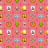 cartoon angry animal face seamless pattern