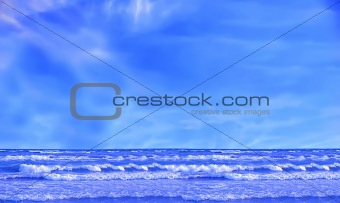 Wave ocean and blue sky