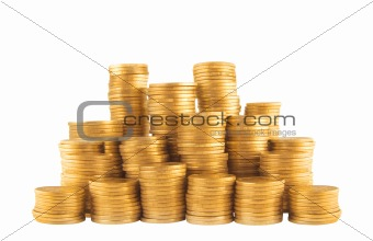 Ukrainian golden coins in column isolated on white