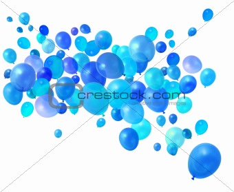 Blue balloons flying