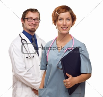 Two Doctors or Nurses Isolated on a White Background.