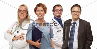 Group of Doctors or Nurses Isolated on a White Background.