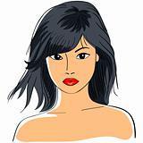 vector Asian girl