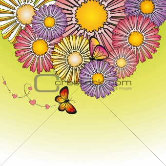 Abstract springtime colorful flower and butterfly