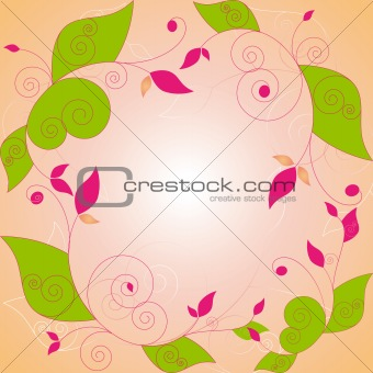 Abstract springtime floral frame