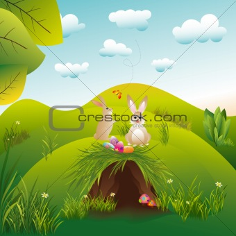 Springtime Easter holiday landscape wallpaper