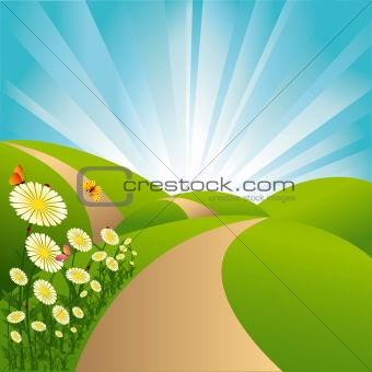 Spring landscape green fields blue sky flowers and butterflies