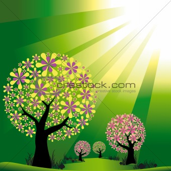 Abstract trees on green burst light background