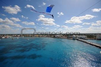 Skydiving over a coastline