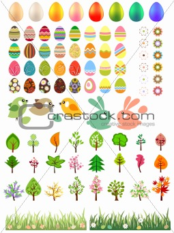 Big collection of easter elements