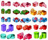 Big collection of gift boxes.