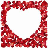 Blank frame made of rose petals