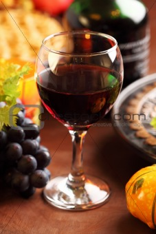 Glass of red wine for Thanksgiving