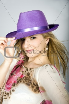 attractive woman with violet hat