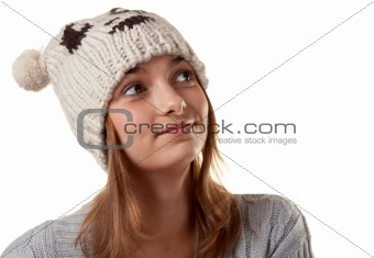 Portrait of the young girl in hat