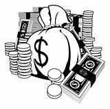 Black and white illustration of cash