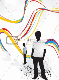abstract background with shilloutes