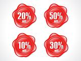 abstract red shiny plastic discount stamp