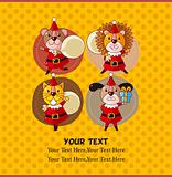 cartoon animal Santa Claus,xmas card
